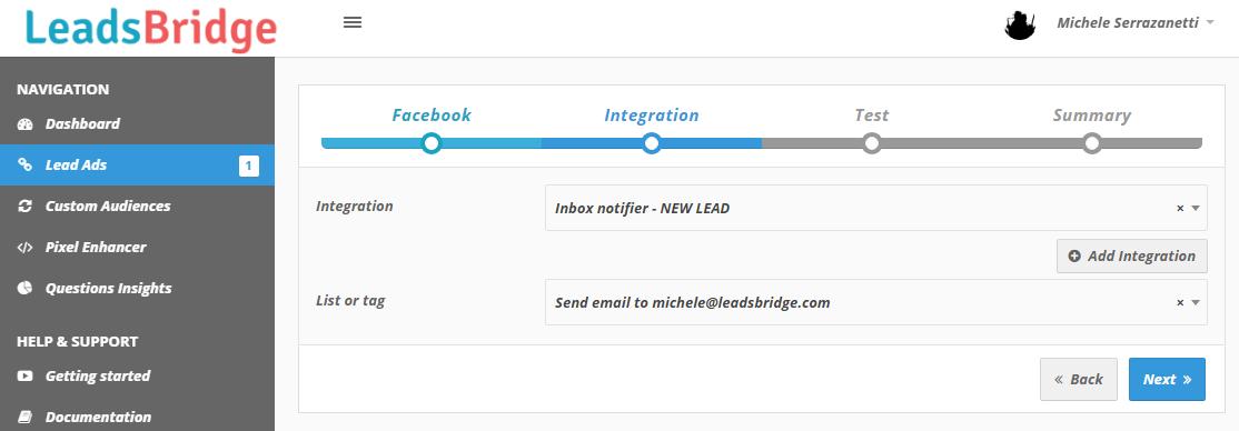 LeadsBridge Facebook Gmail bridge