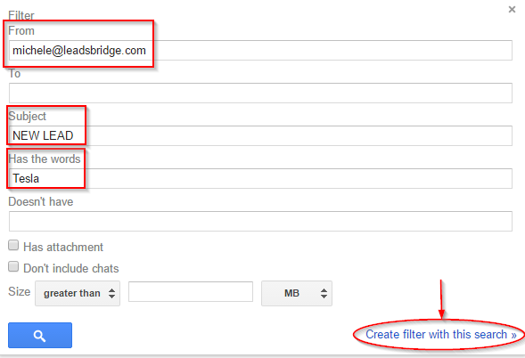 Gmail filter segmentation