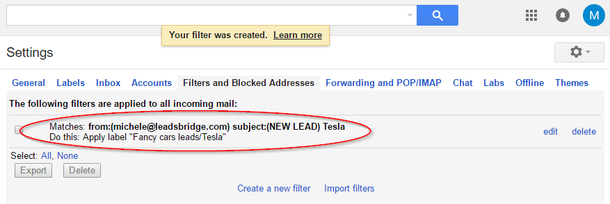 Gmail filter 2