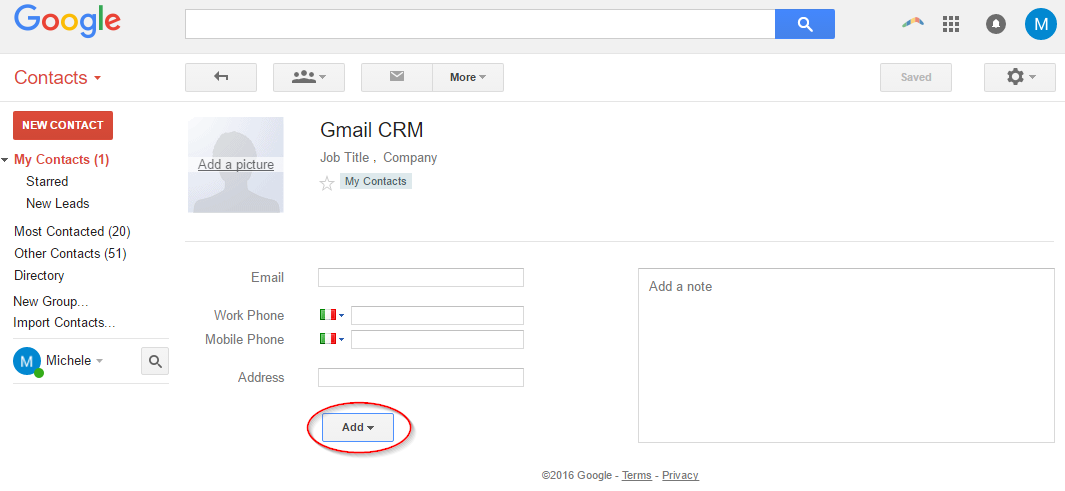 Gmail CRM Contacts
