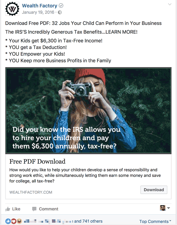 Facebook Lead Ads example 2