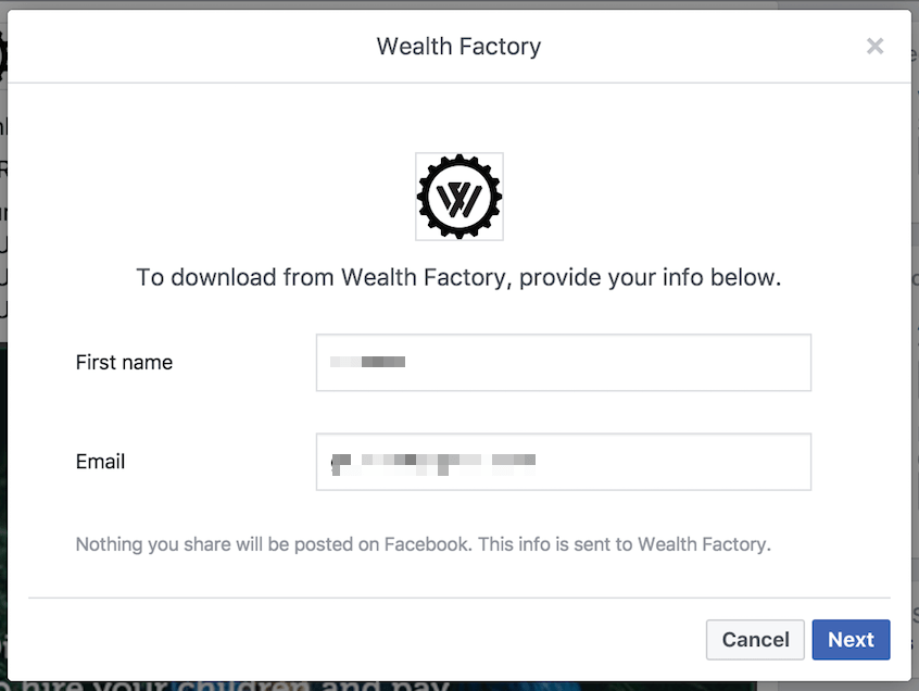 Facebook Lead Ads example form 2
