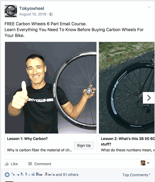 Facebook Lead Ads example 3