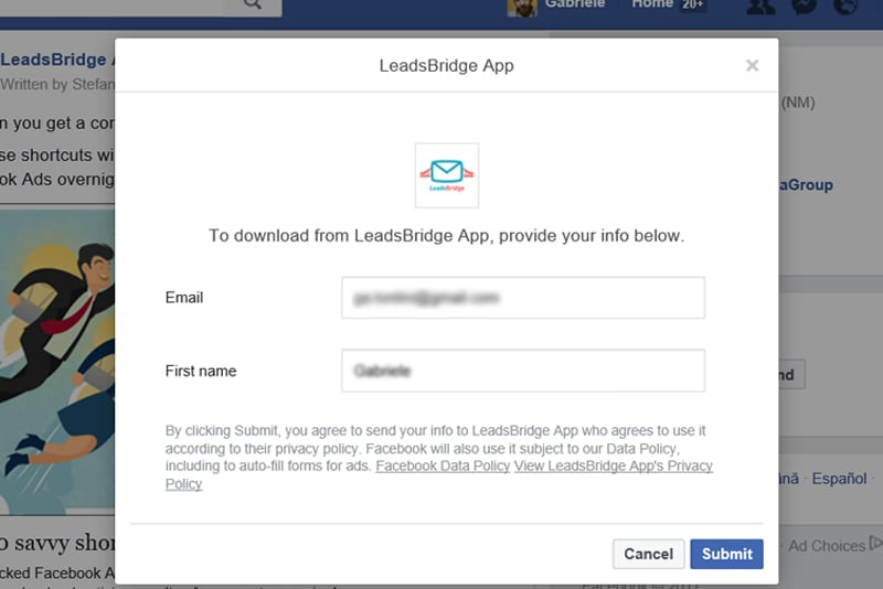 Lead Generation Facebook desktop
