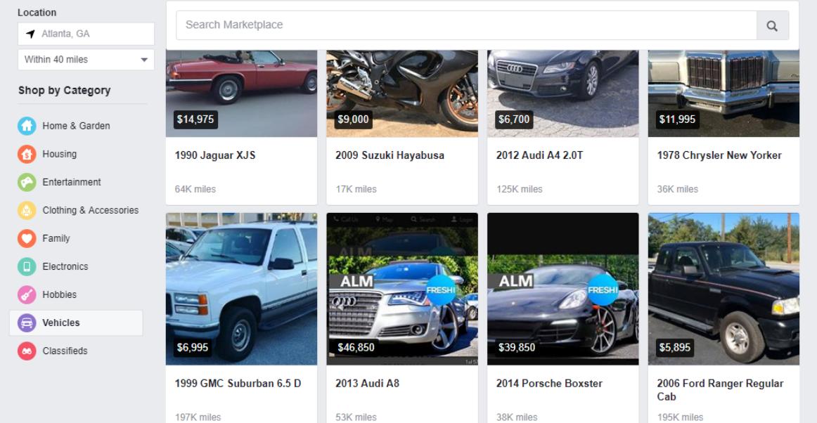 Car dealership Facebook marketplace