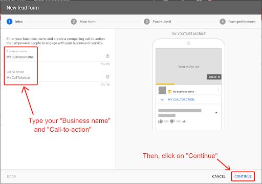 Google lead ads form