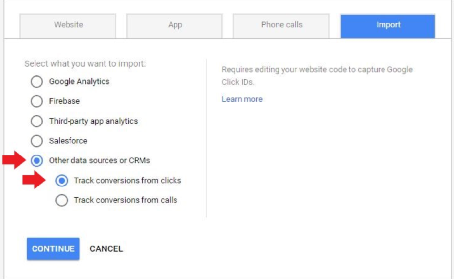 3. Track conversions from clicks