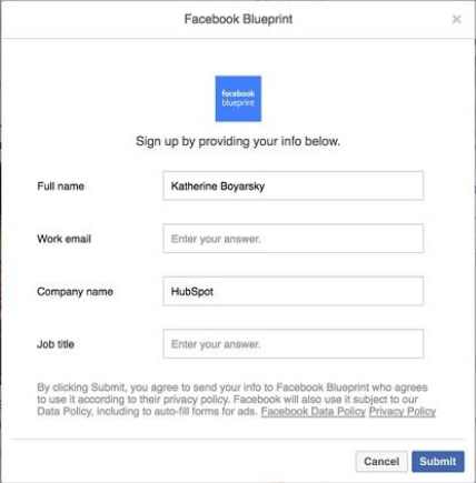 Facebook lead example 2