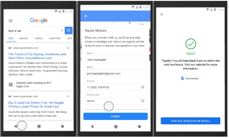 Google Lead form extension example