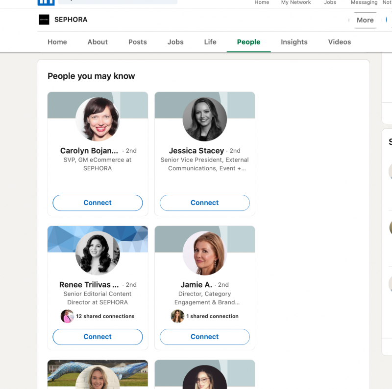 LinkedIn allows you to view a company profile and see employees who are listed as working for them